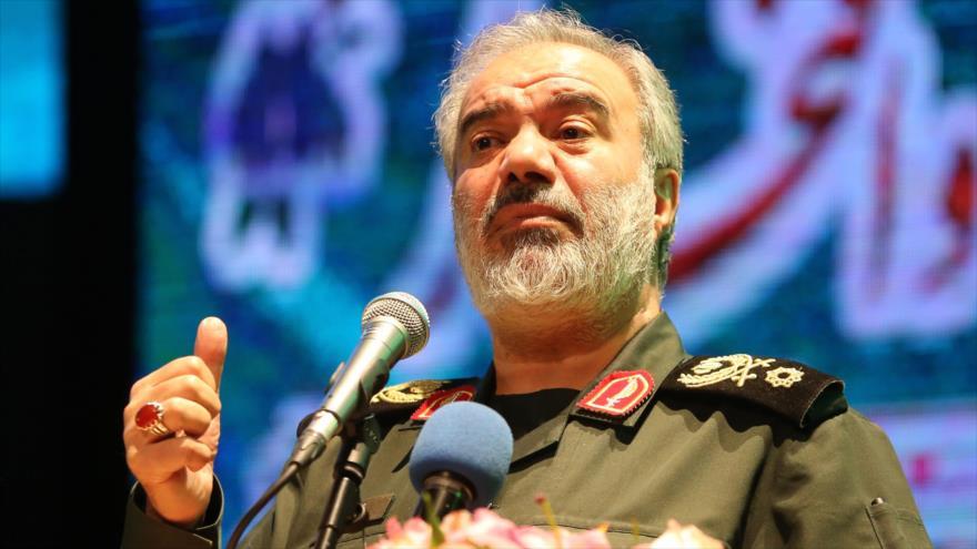 El jefe adjunto del CGRI de Irán, el general de brigada Ali Fadavi, pronuncia un discurso en Teherán, 24 de noviembre de 2019. (Foto: AFP)