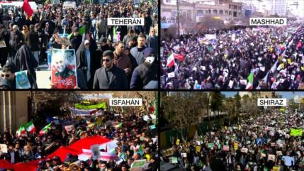 Iraníes marchan en todo el país en apoyo a la Revolución Islámica