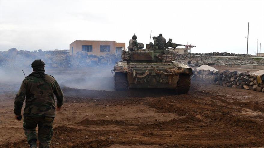 Soldados sirios en la aldea de Obeid, sur de la provincia Alepo, 18 de enero de 2018.