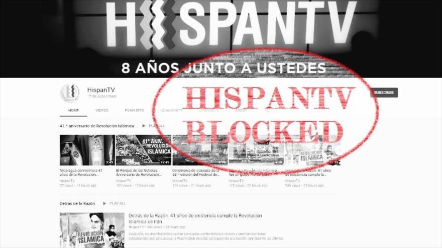 Imagen de la página principal de la cuenta de YouTube de HispanTV, que fue bloqueada por Google.