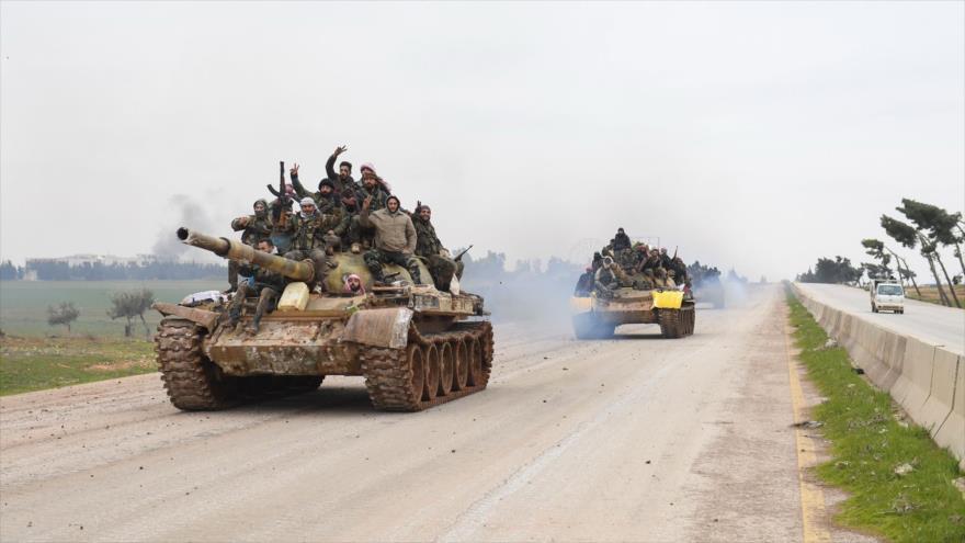 Tropas del Ejército sirio ganan más terreno a terroristas en la provincia norteña de Alepo, 12 de febrero de 2020. (Foto: AFP)