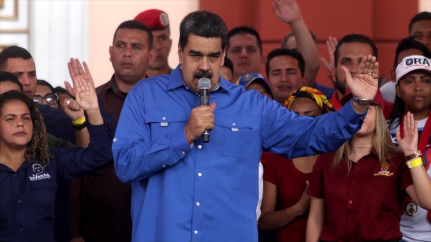 El presidente venezolano, Nicolás Maduro, ofrece un discurso en Caracas (la capital), 12 de febrero de 2020. (Foto: AFP)