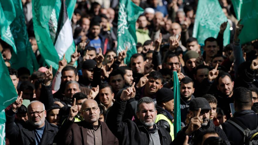 """Palestinos se manifiestan contra el llamado """"acuerdo del siglo"""" de EE.UU., Gaza, 31 de enero de 2020. (Foto: AFP)"""