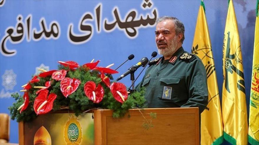 Comandante en jefe adjunto del CGRI, el general de brigada Ali Fadavi, ofrece un discurso en Teherán, la capital, 14 de febrero de 2020. (Foto: Tasnim)