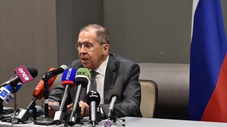El ministro de Exteriores de Rusia, Serguéi Lavrov, habla en una rueda de prensa en México, 6 de febrero de 2020. (Foto: AFP)