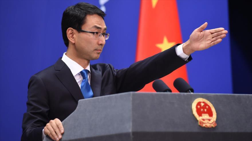 El portavoz del Ministerio chino de Asuntos Exteriores, Geng Shuang, durante una rueda de prensa en Pekín, la capital.