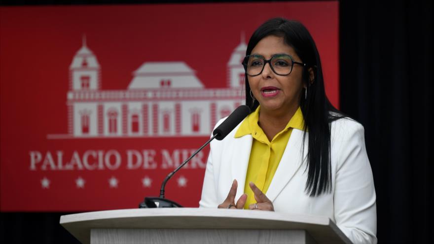 La vicepresidenta de Venezuela, Delcy Rodríguez, en una rueda de prensa, Palacio de Miraflores, 31 de julio de 2019. (Foto: AFP)