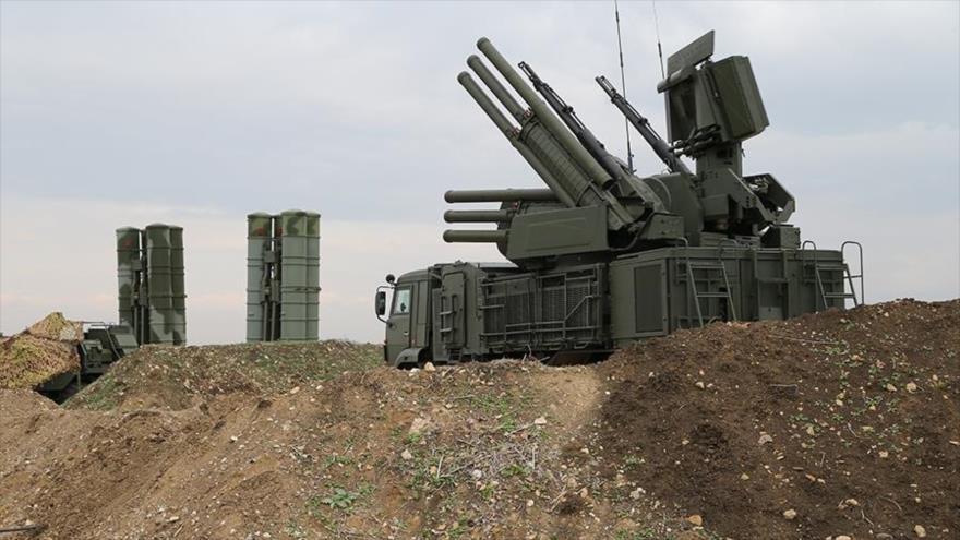 El sistema de defensa aérea Pantsir-S1, de fabricación rusa, desplegado en la provincia siria de Latakia.