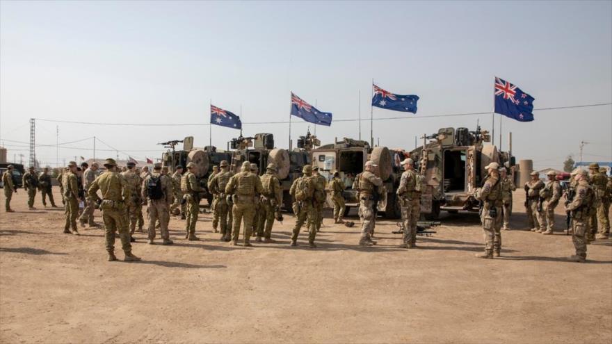 Un grupo de soldados de la Organización del Tratado del Atlántico Norte reunidos en la base de Taji, al norte de Bagdad, capital iraquí, 7 de febrero de 2020.
