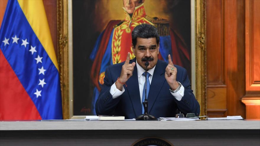 El presidente venezolano, Nicolás Maduro, ofrece un discurso en Caracas (capital), 14 de febrero de 2020. (Foto: AFP)