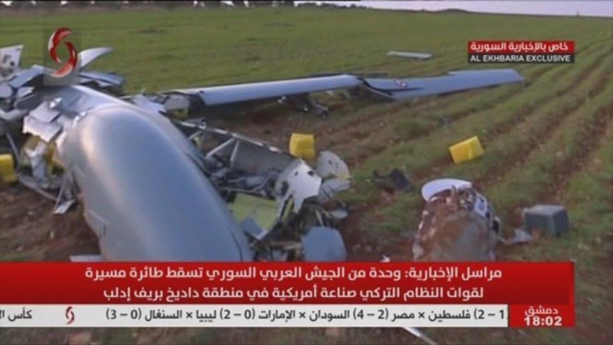 Dron espía turco derribado por el Ejército sirio en Idlib, 25 de febrero de 2020.