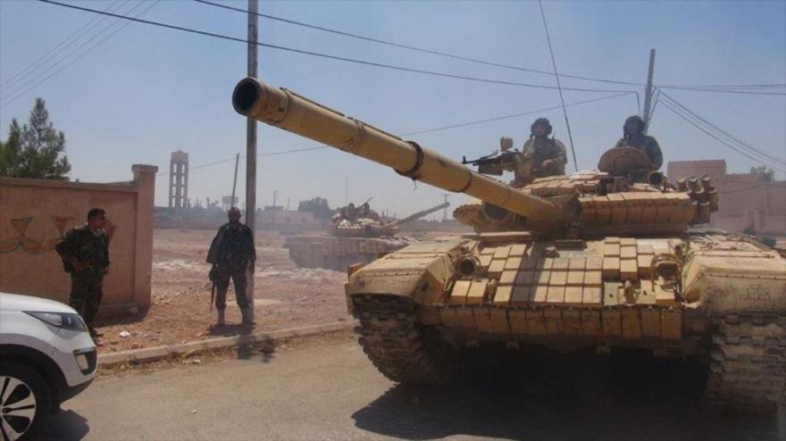Tropas del Ejército sirio durante sus operaciones antiterroristas en la provincia de Idlib.