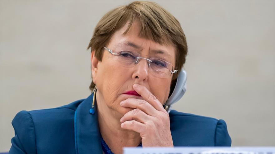 La jefa de los DD.HH. de la ONU, Michelle Bachelet, durante la 43.º periodo de sesiones del Consejo de Derechos Humanos, 27 de febrero de 2020.