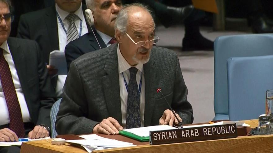El representante permanente sirio ante la Organización de las Naciones Unidas (ONU), Bashar al-Yafari, 28 de febrero de 2020.