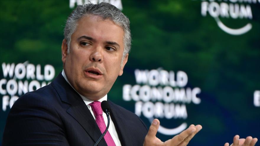 El presidente de Colombia, Ivan Duque, durante la reunión anual del 50 Foro Económico Mundial (FEM) en Davos, Suiza, 22 de enero de 2020. (Foto: AFP)