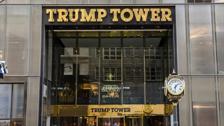 Una vista general de la entrada de la Torre Trump, Nueva York.