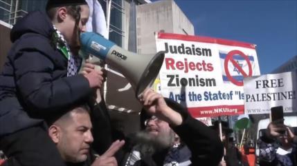 Vídeo: Estadounidenses protestan contra cumbre de lobby sionista