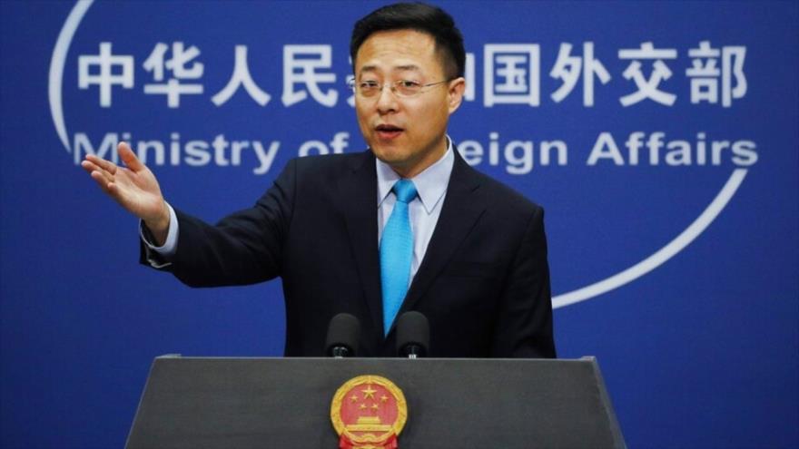 El portavoz del Ministerio de Exteriores de China, Zhao Lijian, durante una rueda de prensa en Pekín, la capital.