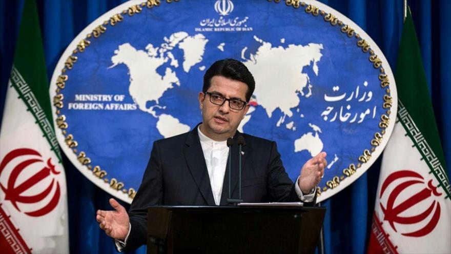 El portavoz de la Cancillería de Irán Seyed Abás Musavi, ofrece una rueda de prensa en Teherán, capital iraní.