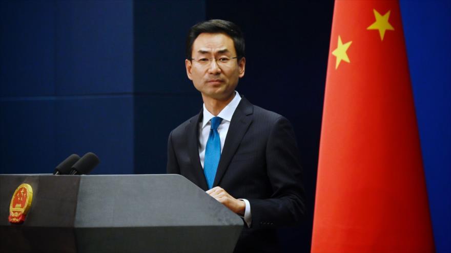 El portavoz del Ministerio de Asuntos Exteriores de China, Geng Shuang, en una conferencia de prensa, 28 de noviembre de 2019. (Foto: AFP)