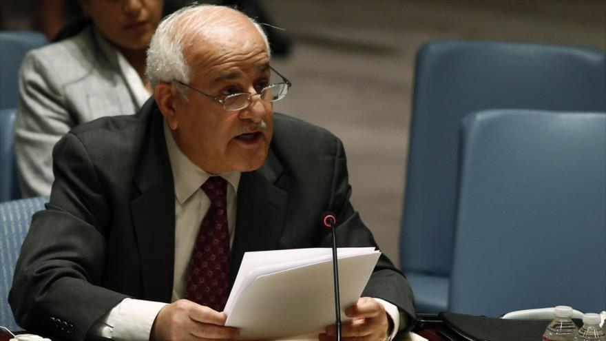 El embajador de Palestina ante la Organización de las Naciones Unidas (ONU), Riad Mansur.