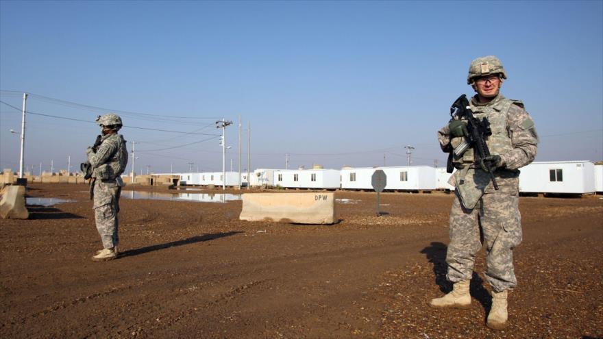 Soldados estadounidenses desplegados en la base militar de Al-Tayi, cerca de Bagdad, la capital iraquí.