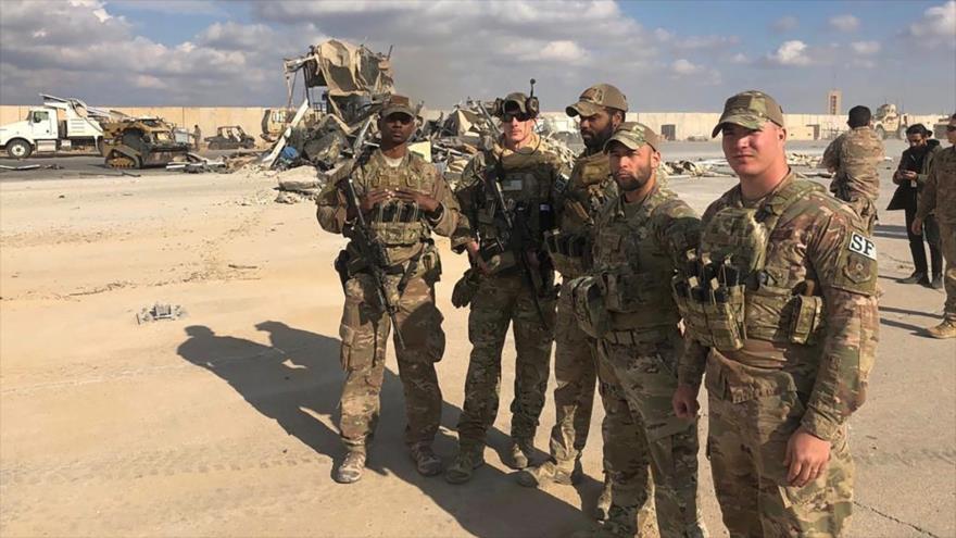 Soldados del Ejército estadounidense en la base Ain Al-Asad, ubicada en la provincia de Al-Anbar, en el oeste de Irak.