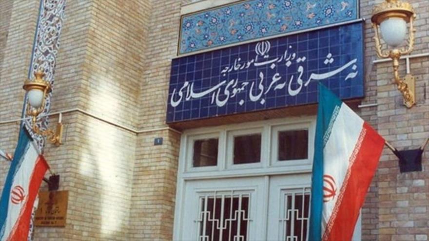 La entrada del Ministerio iraní de Asuntos Exteriores, Teherán, capital.