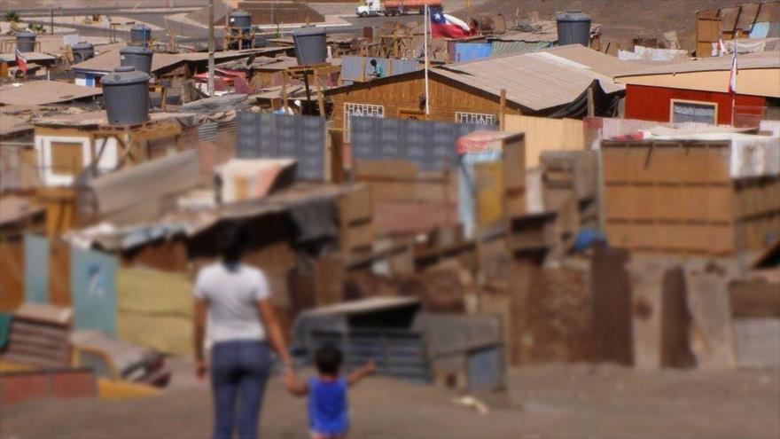 Un barrio de ciudadanos pobres en Chile.