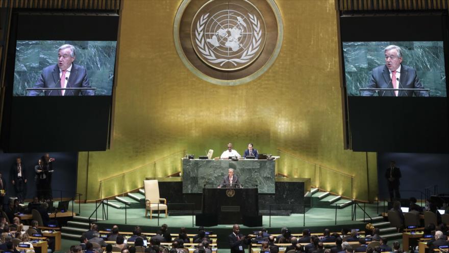 El secretario general de la ONU, Antonio Guterres, se dirige a la Asamblea General de las Naciones Unidas, 24 de septiembre de 2019. (Foto: AFP)