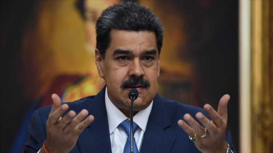 El presidente venezolano, Nicolás Maduro, ofrece un discurso en el palacio de Miraflores en Caracas (capital), 14 de octubre de 2020. (Foto: AFP)