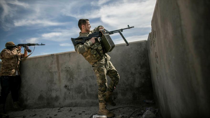 Las fuerzas del Gobierno del Acuerdo Nacional (GAN) de Libia en las afueras de Trípoli.