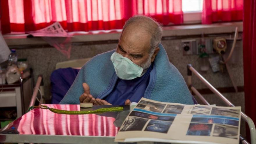 Un paciente contagiado con el coronavirus en un hospital en Teherán, capital de Irán, 28 de marzo de 2020. (Foto: Fars)