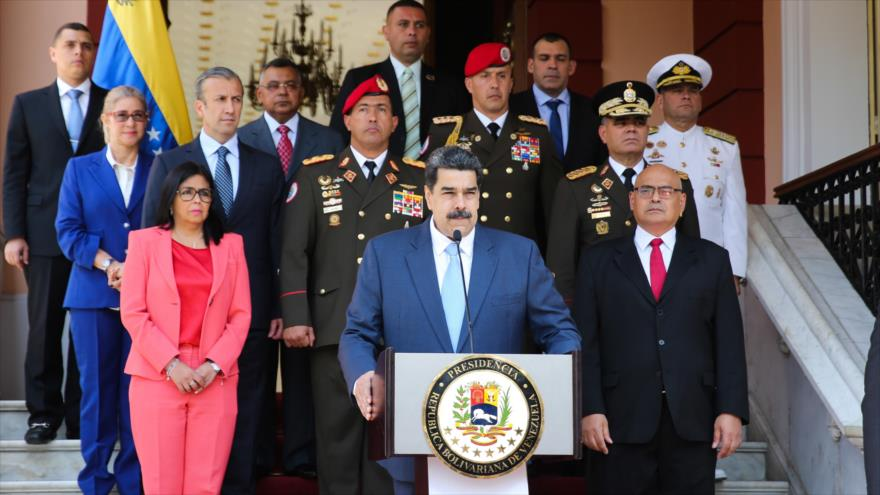 El presidente venezolano, Nicolás Maduro, en una rueda de prensa en el palacio de Miraflores, Caracas (la capital), 12 de marzo de 2020. (Foto: AFP)