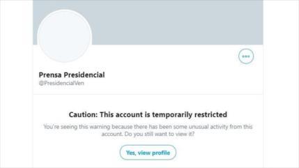 Twitter bloquea cuenta oficial de la Presidencia de Venezuela