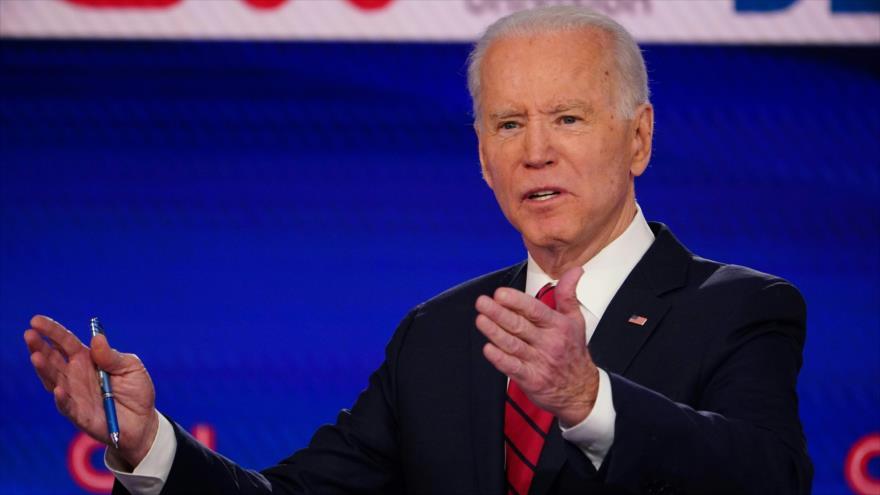El exvicepresidente de EE.UU. Joe Biden ofrece un discurso durante un acto en Washington, 15 de marzo de 2020. (Foto: AFP)