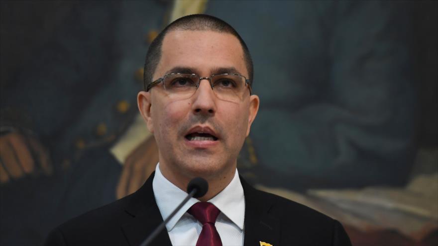 El canciller venezolano, Jorge Arreaza, en una reunión en el Ministerio de Relaciones Exteriores de Venezuela, Caracas (la capital), 5 de febrero de 2020. (Foto: AFP)