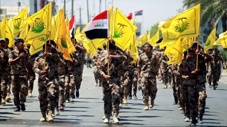 Las Unidades de Movilización Popular de Irak (Al-Hashad Al-Shabi, en árabe), en un desfile militar en Bagdad, la capital.