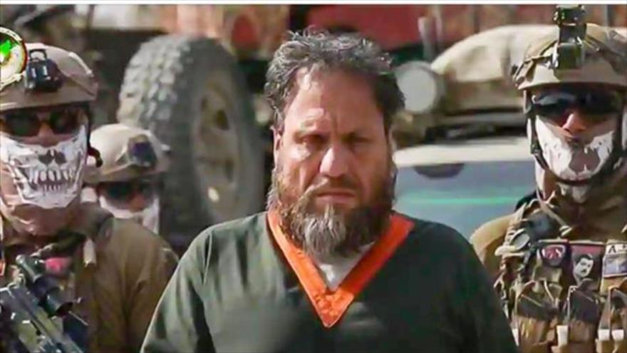 Abdullah Orakzai, líder de una filial local de Daesh, arrestado en un lugar no revelado en Afganistán, 4 de abril de 2020. (Foto: NDS)