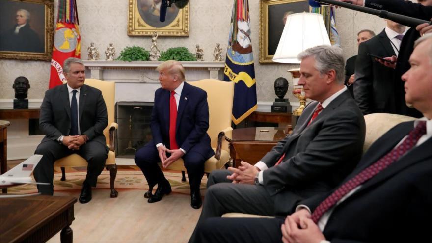 El presidente de EE.UU., Donald Trump, se reúne con su par colombiano, Iván Duque, en Washington D.C., 2 de marzo de 2020. (Foto: REUTERS)