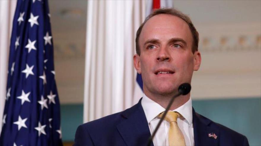 El secretario británico de Relaciones Exteriores, Dominic Raab, en una rueda de prensa en Washington DC., 7 de agosto de 2019. (Foto: Reuters)