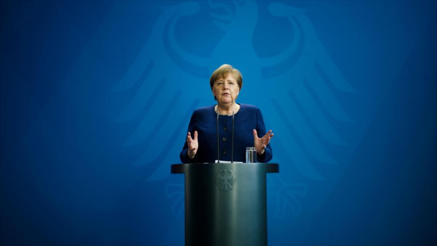 La canciller alemana, Angela Merkel, ofrece una rueda de prensa sobre las medidas de Berlín ante COVID-19, Berlín, 6 de abril de 2020. (Foto: AFP)