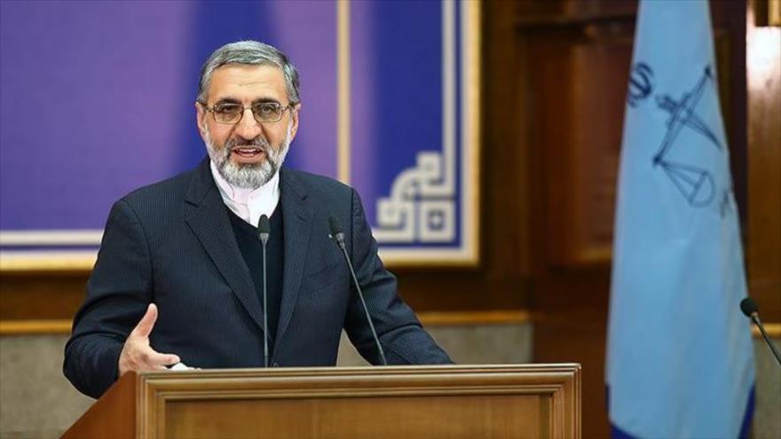 El portavoz del Poder Judicial de Irán,Qolam Hosein Esmaili, en una rueda de prensa en Teherán (capital), noviembre de 2019. (Foto: Tansim)