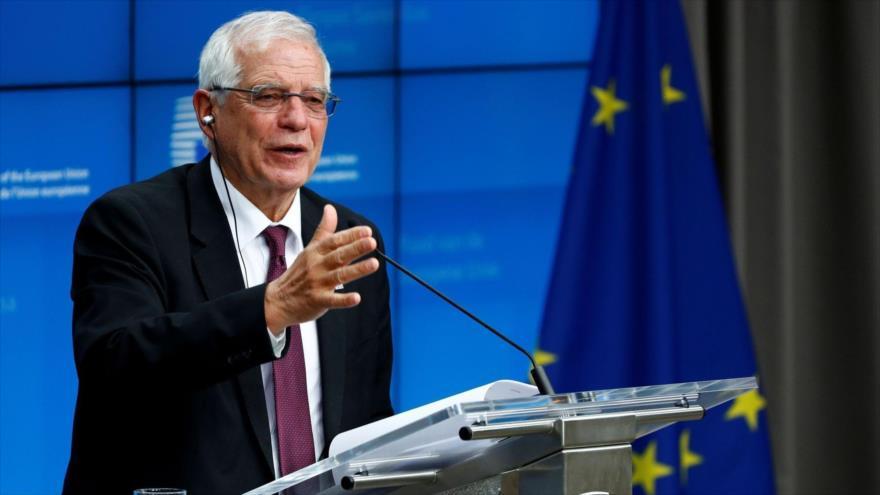 El jefe de la Diplomacia europea, JosepBorrell, durante una rueda de prensa en Bruselas (capital belga), 10 de enero de 2020. (Foto: Reuters)