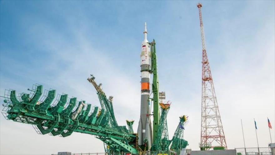 La nave espacial Soyuz MS-16, (ISS) en la plataforma de lanzamiento, Kazajistán, 6 de abril de 2020. (Foto: Reuters)