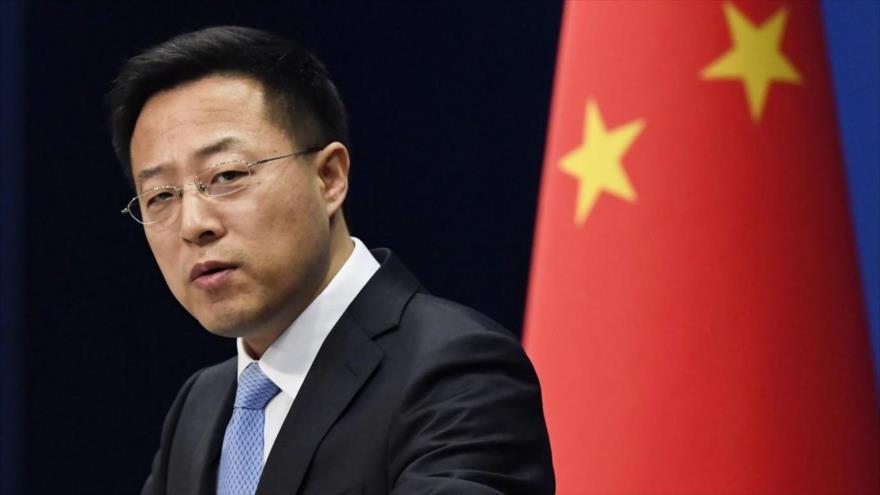 El portavoz del Ministerio chino de Exteriores, Zhao Lijian, en una rueda de prensa.