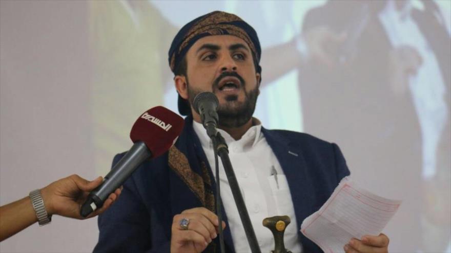 El portavoz del movimiento popular yemení Ansarolá, Muhamad Abdel Salam, durante un acto en Saná, la capital.
