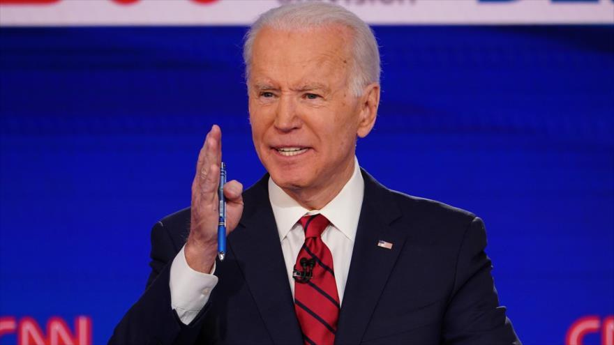 Joe Biden, candidato a la Presidencia por el Partido Demócrata, durante un debate presidencial, 15 de marzo de 2020. (Foto: AFP)