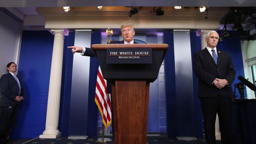 El presidente de EE.UU., Donald Trump, ofrece una rueda de prensa sobre la COVID-19, Casa Blanca, Washington, 10 de abril de 2020. (Foto: Reuters)
