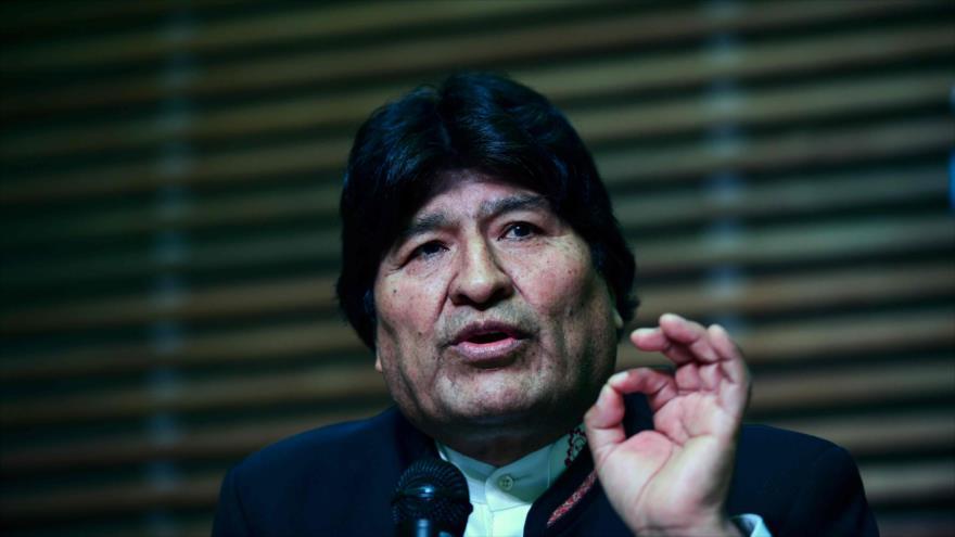 El expresidente boliviano Evo Morales durante una rueda de prensa en Buenos Aires (capital argentina), 21 de febrero de 2020. (Foto: AFP)